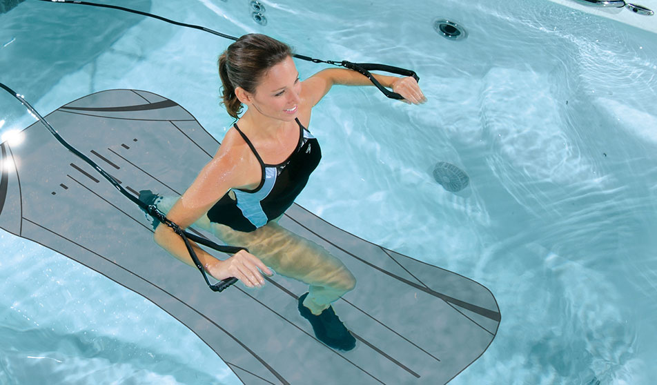 Woman using H2Xercise Rowing Kit and Resistance Bands